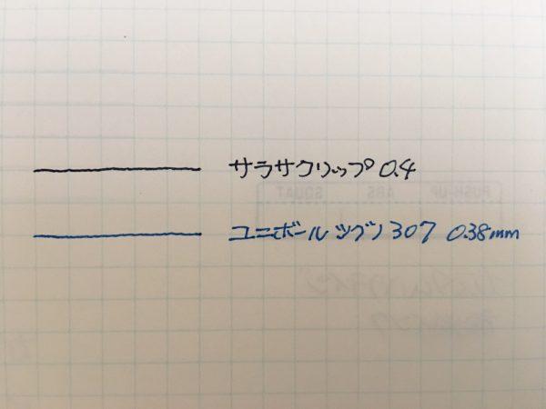 ユニボールシグノ307線幅